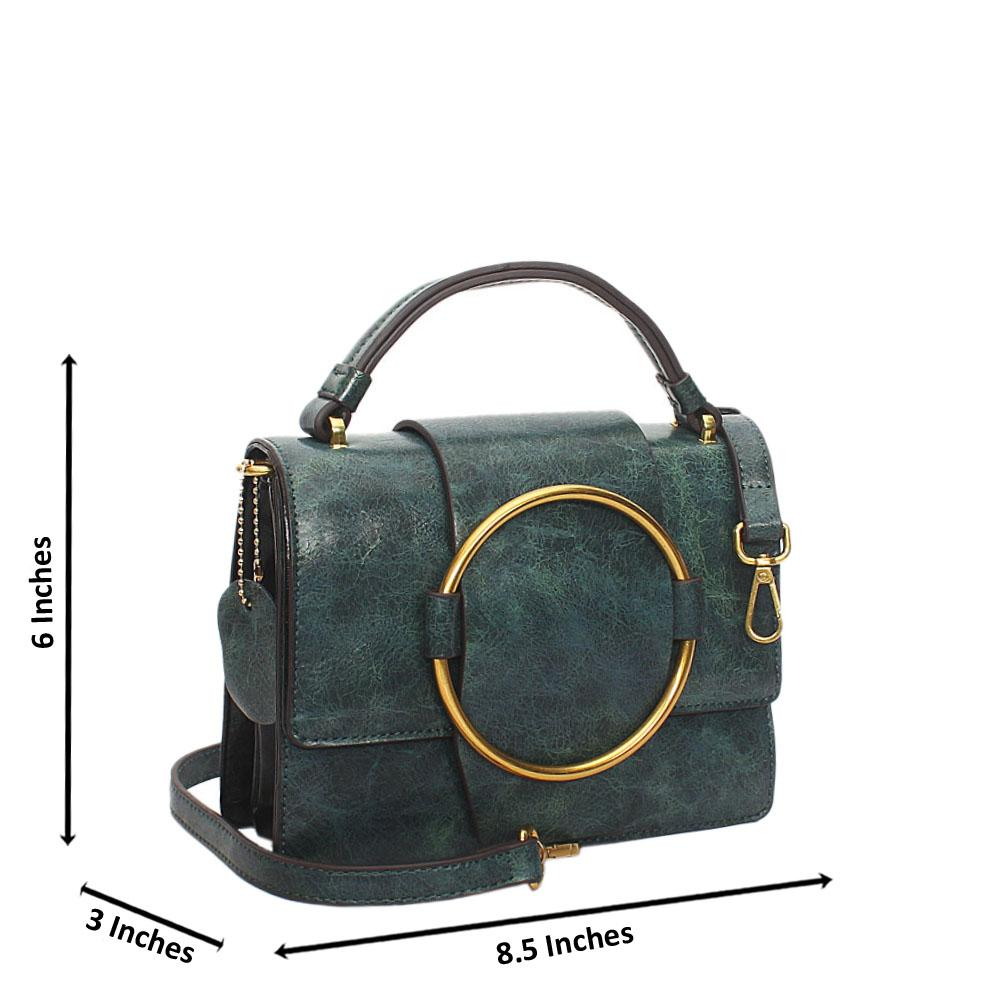Green Nicolette Leather Mini Top Handle Handbag