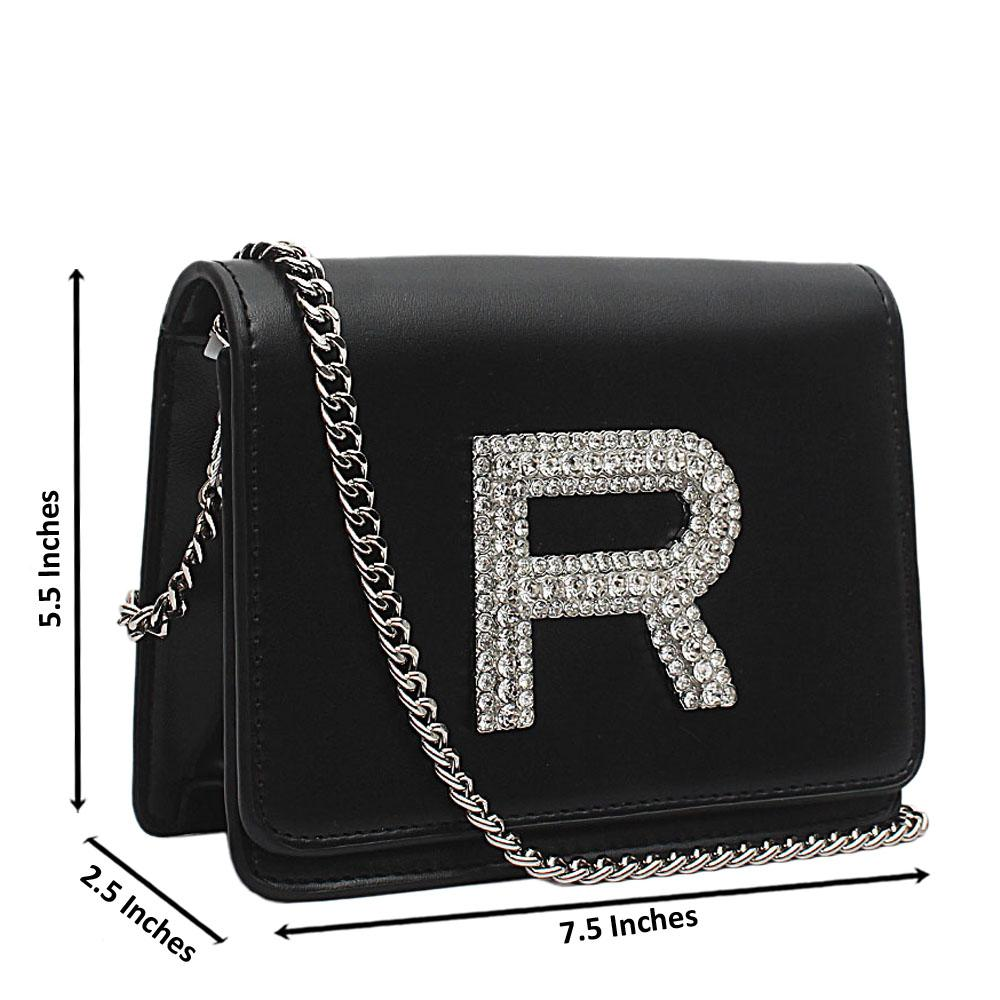 London Style Black Leather Mini Studded Cross Body Bag