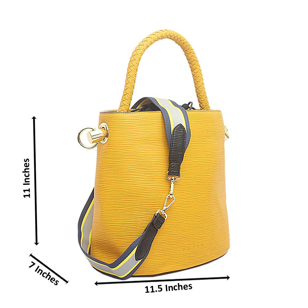 Susen Yellow Leather V Classic  Bucket Bag