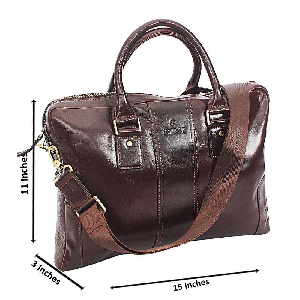 Coffee Kurts Smooth Leather Tote Man Bag