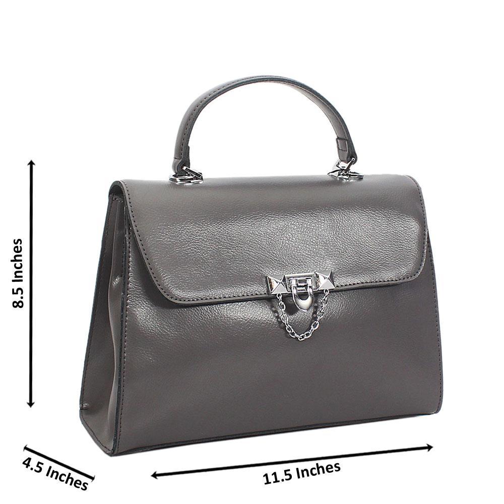 Gray Mia Montana Leather Top Handle Handbag