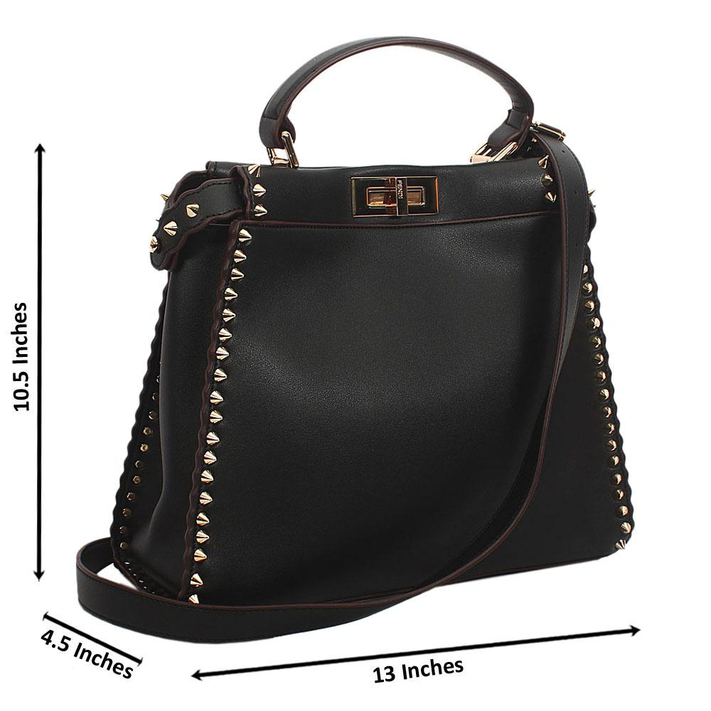 Black Gold Studded Montana Leather Top Single Handle Bag