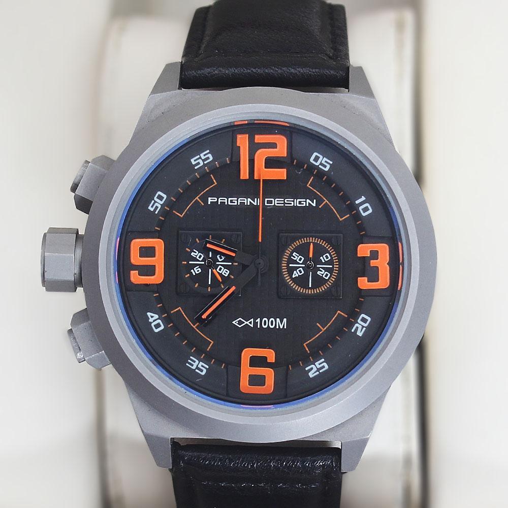 Pagani Design Black Sport Chronograph Watch
