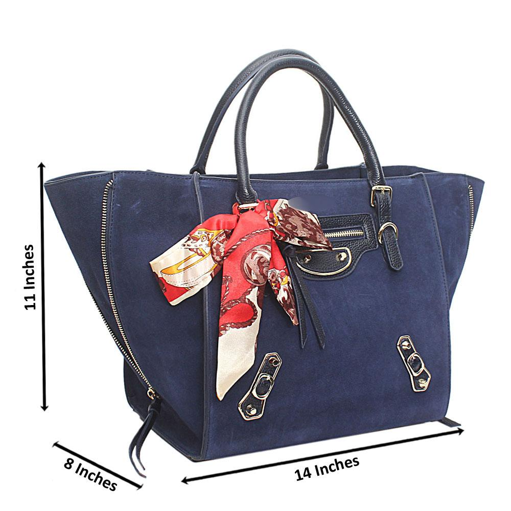 Blue Suede Saffiano Leather Handbag