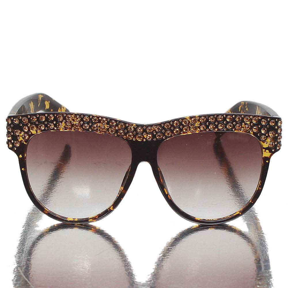 Brown Studded Brown Lens Sunglasses