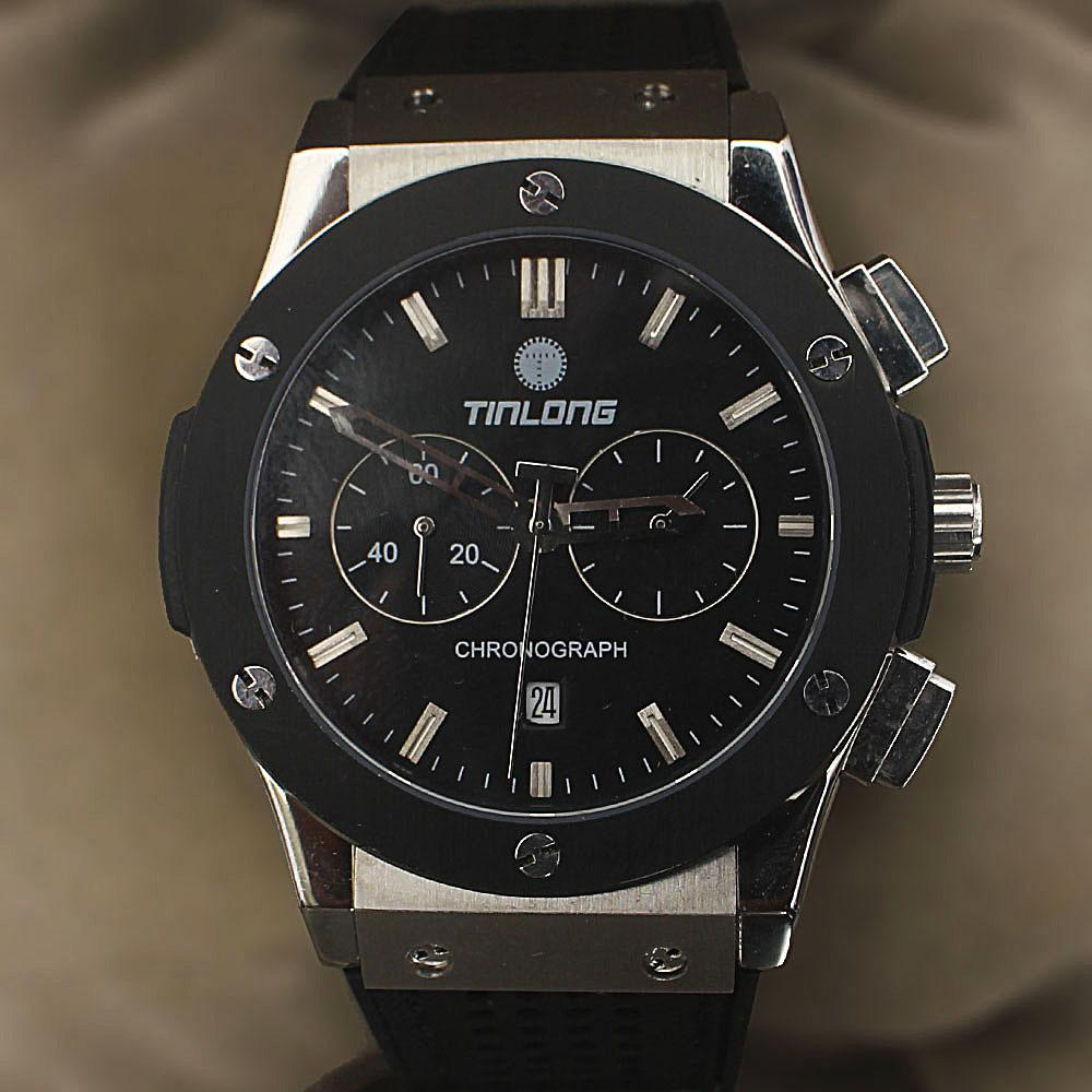 Tinlong Silver Black Rubber Chronograph Watch