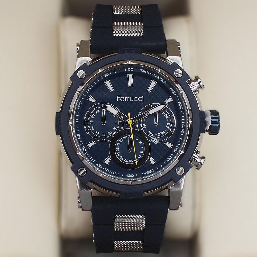 Ferrucci Berry Fashion Watch wt Blue Rubber Strap