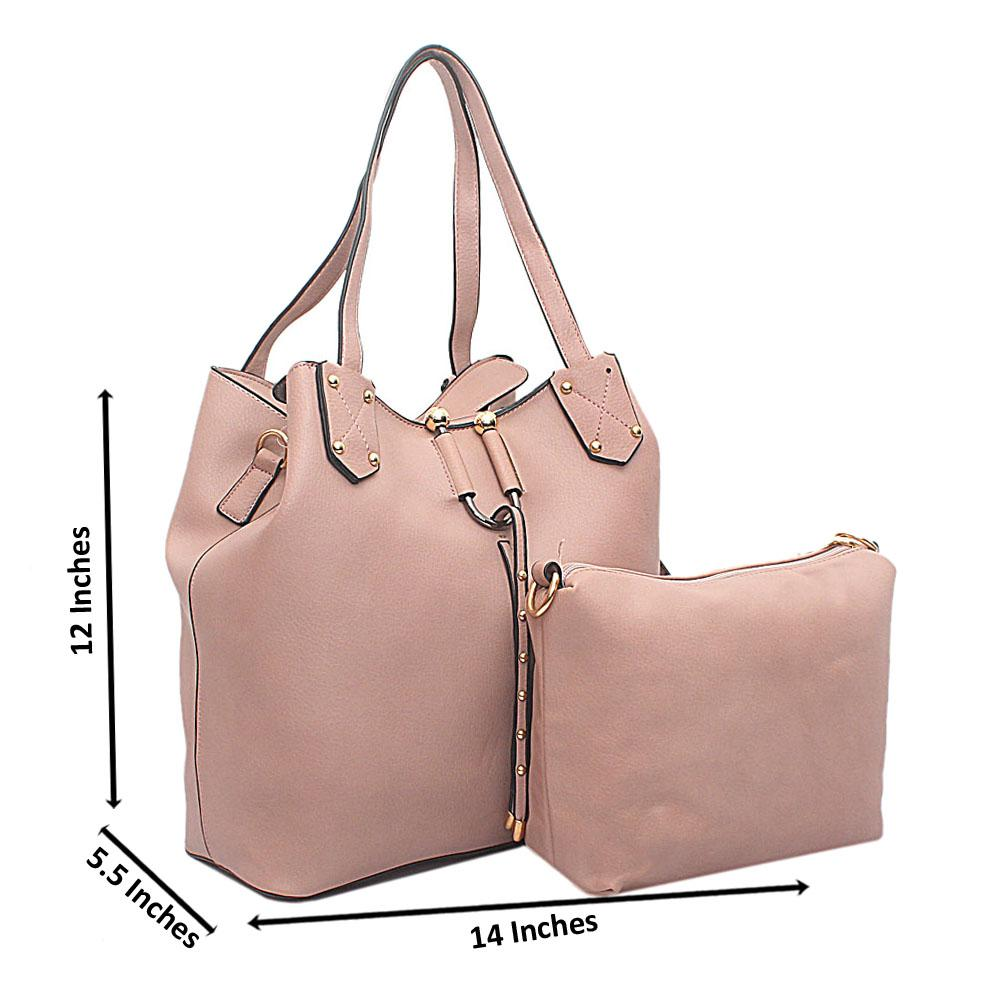 Pink Leather Handbag Wt Purse