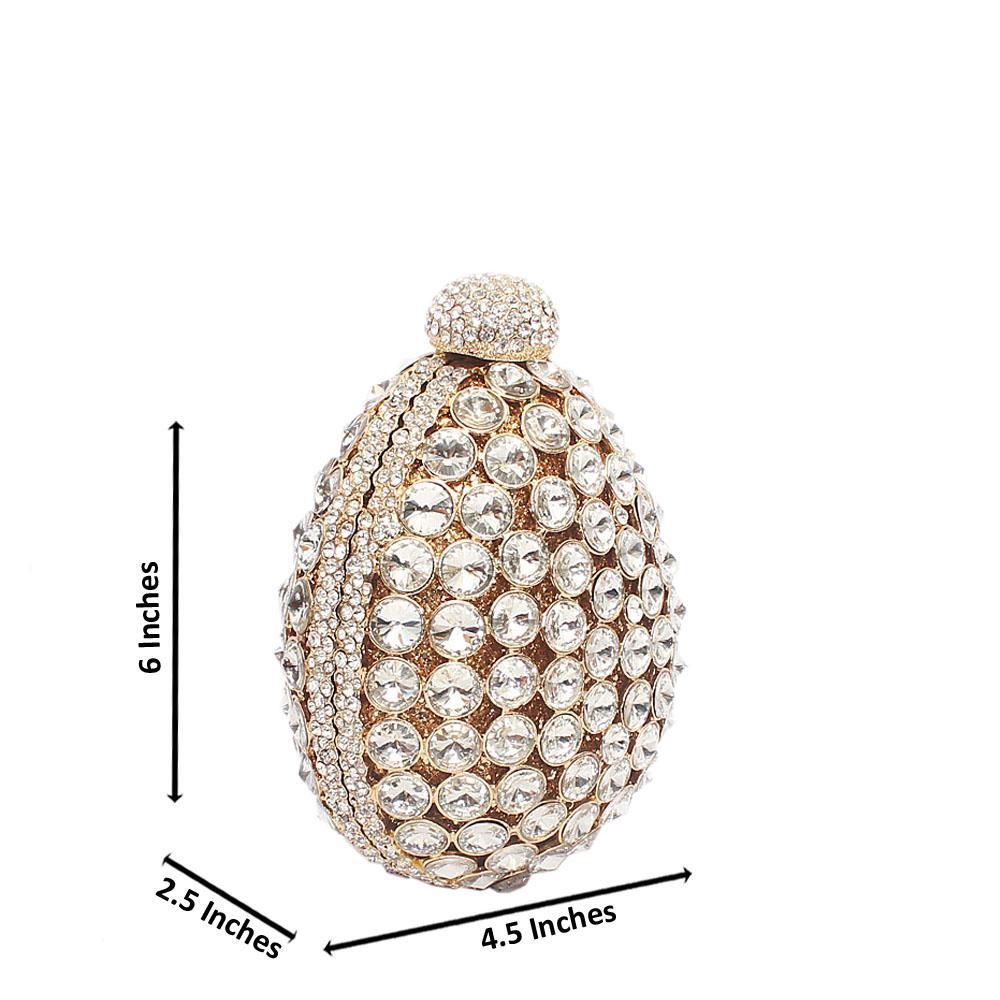 Gold Diamante Pineapple Crystal Hard Clutch Purse