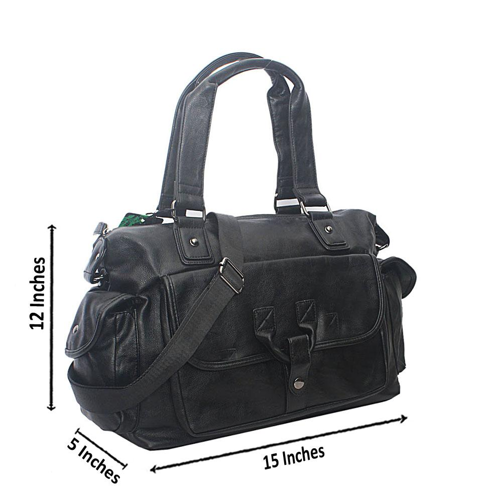 Casania Black Anchor Hook Overnight Travel Bag