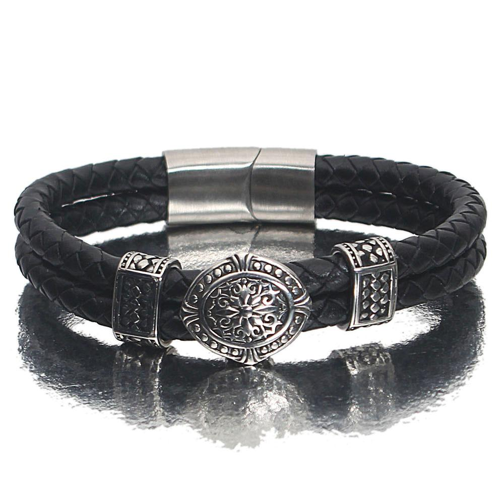 Silver  Double Weave Etched Black Leather Bracelet
