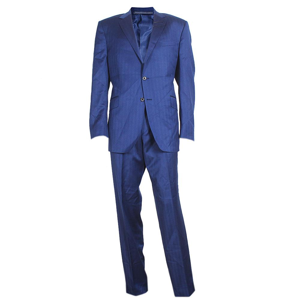 M&S Collection Blue Cotton Regular Fit Men Suit