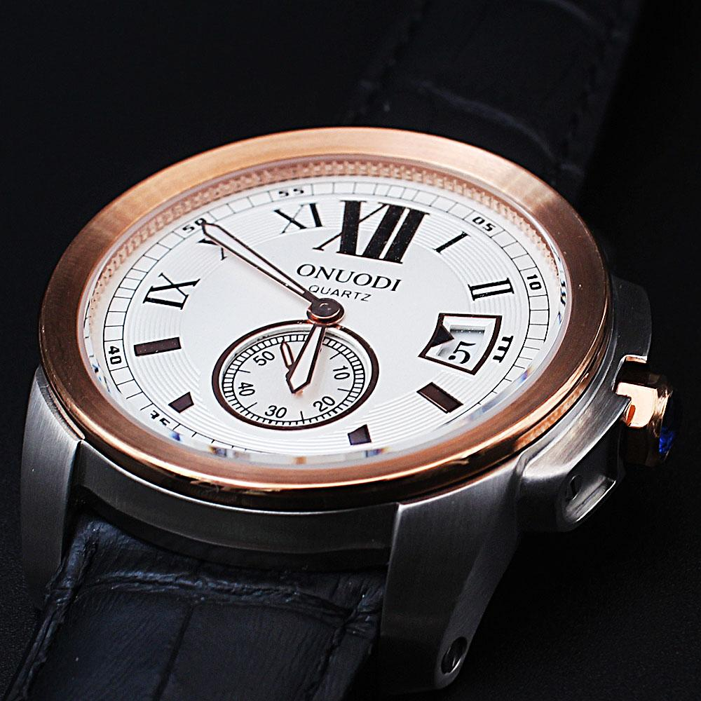 Shanghai Nudi Gold White Face Black Leather Pilot Watch
