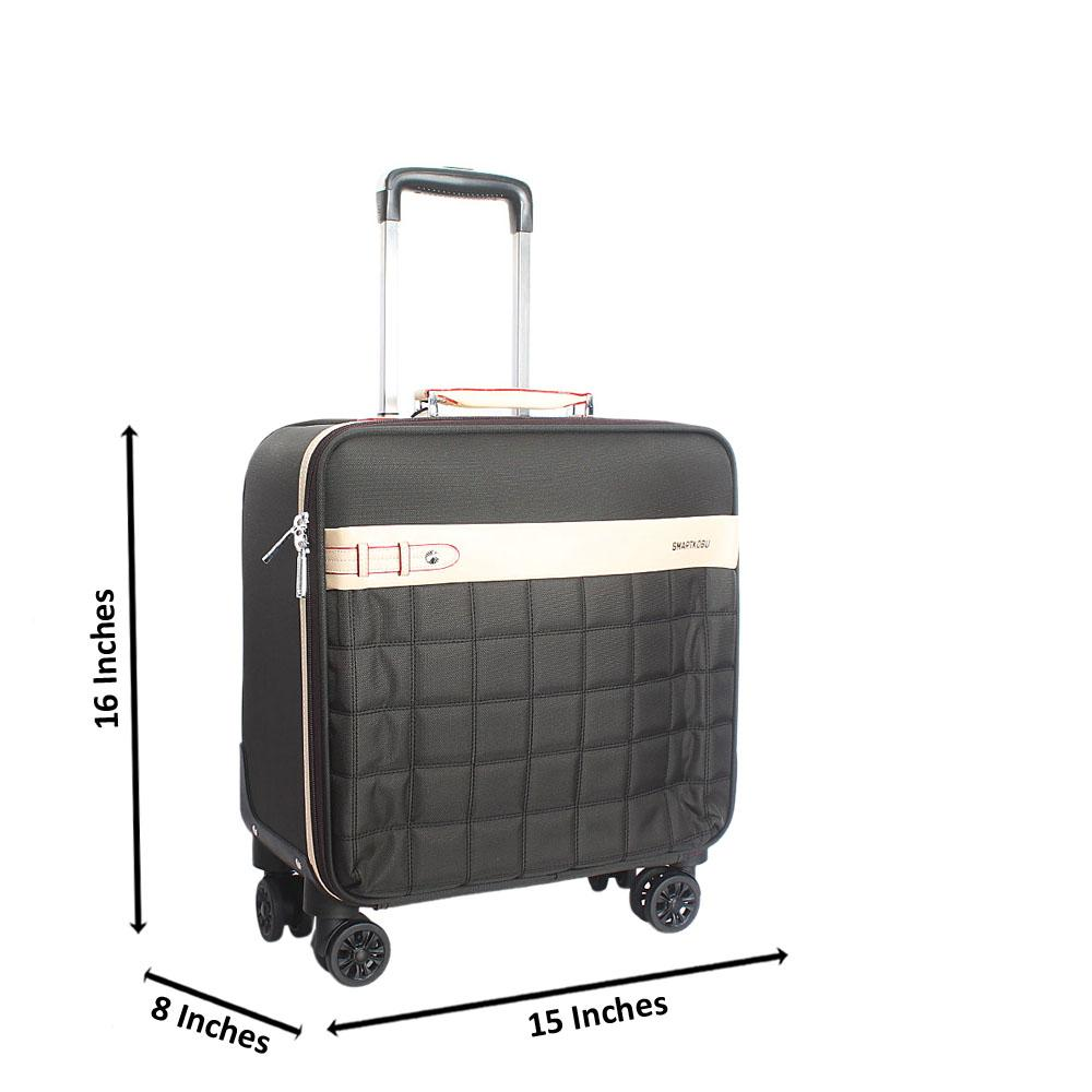 Black 16 Inch Fabric Kobu 4 Wheels Spinners Pilot Suitcase