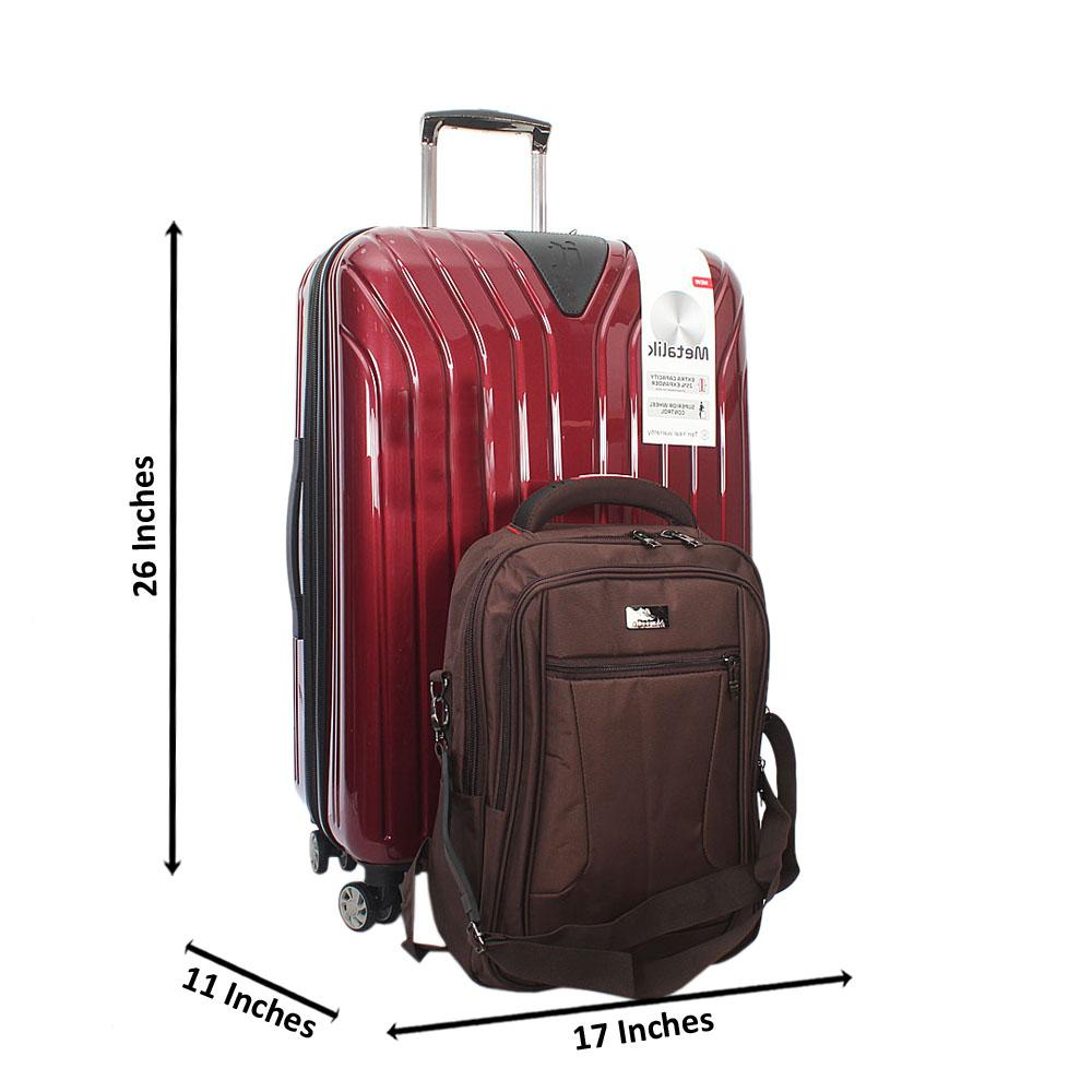 it Luggage Metalik Wine 26 inch Suitcase plus 16 inch Brown Back pack