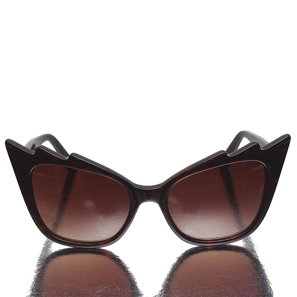 Brown Plastic Cat Eye Brown Lens Sunglasses