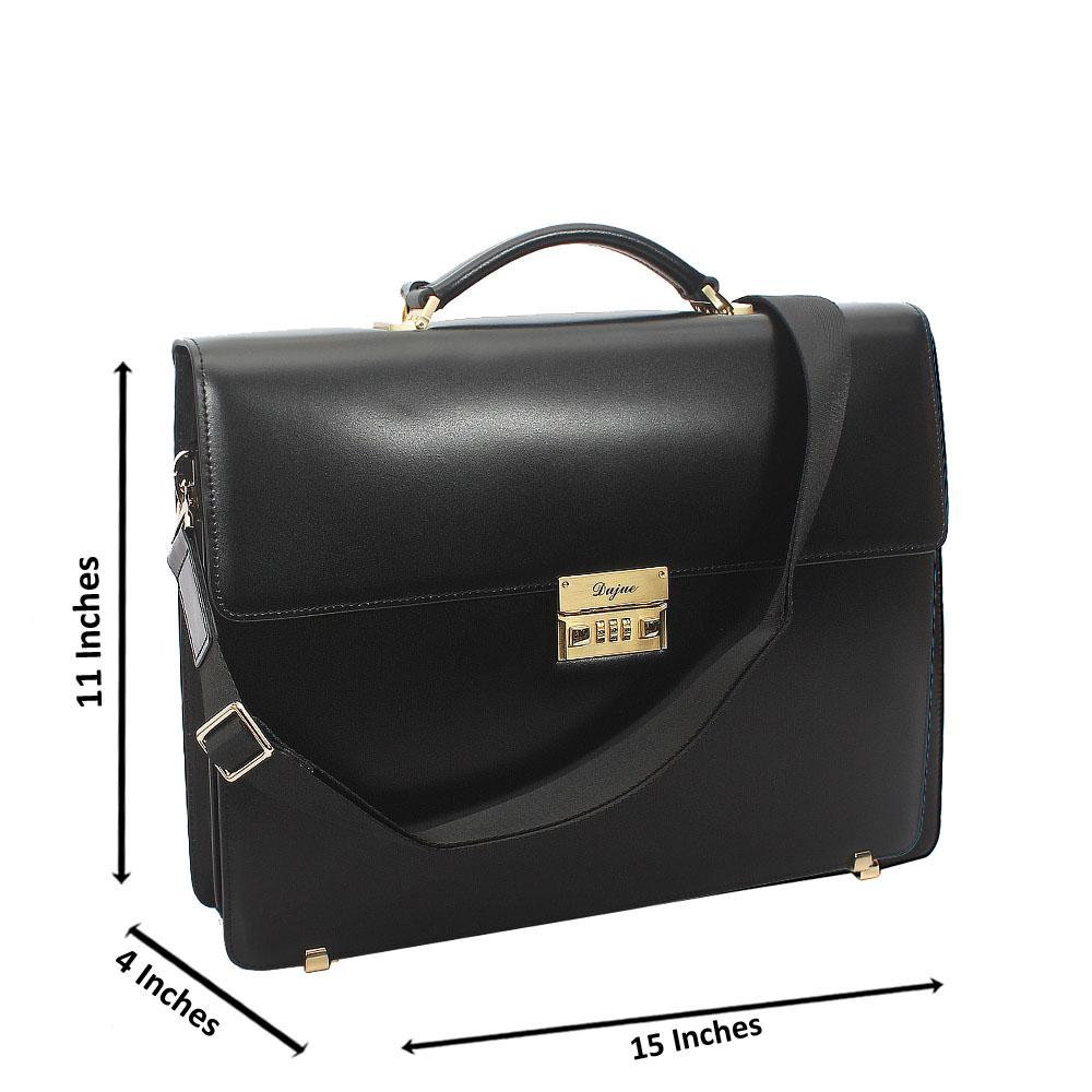 Black Smooth Cowhide Leather Briefcase wt Front Lock