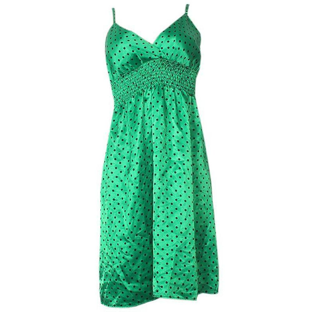 Wetseal Green Polyester Black Polker Dot Ladies Dress-UK12