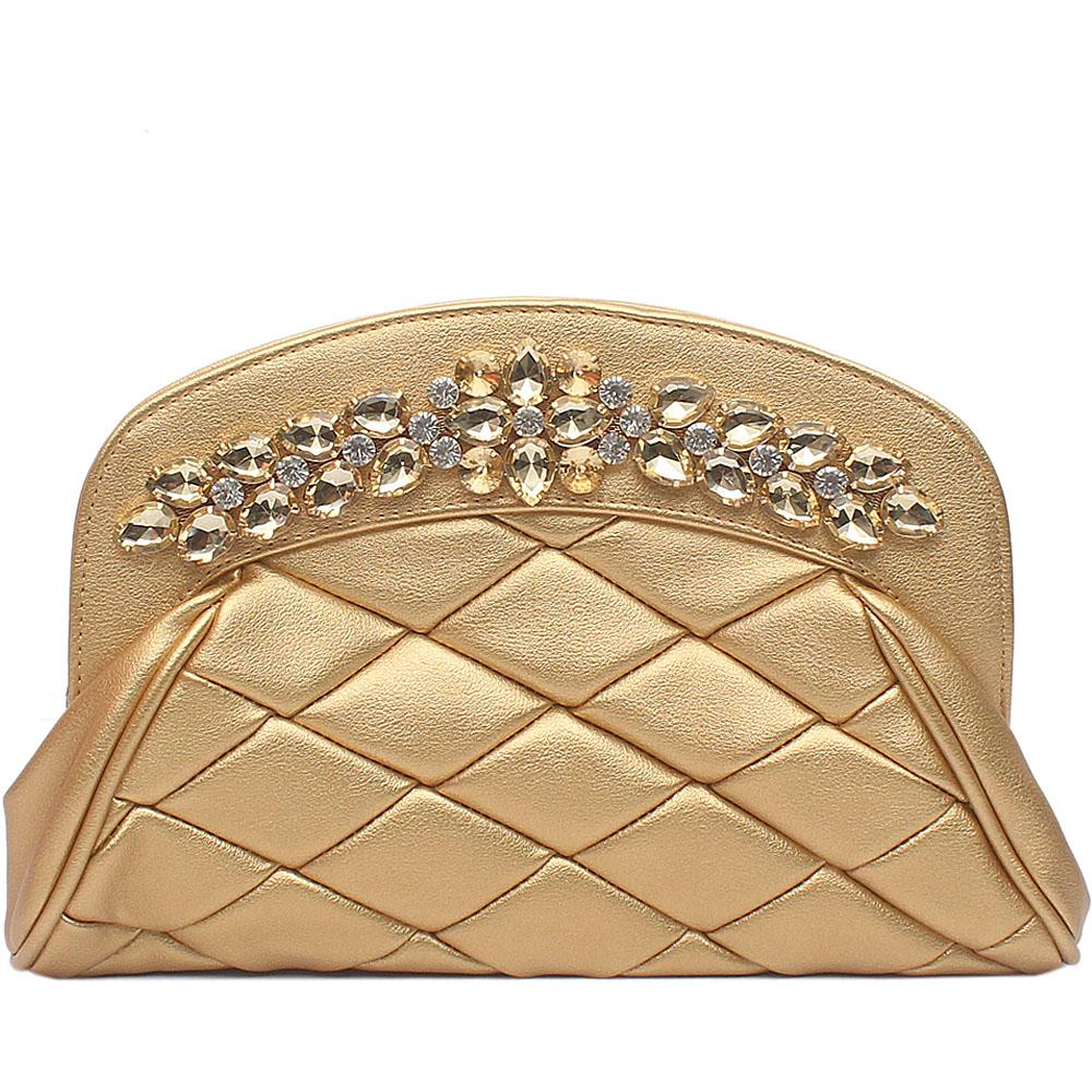 Gold Studded Leather Flat Soft Clutch