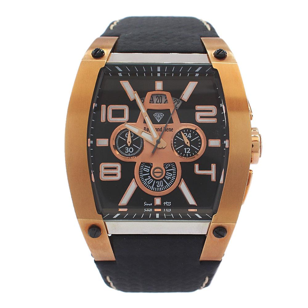 DR 10ATM Gold Black Leather VIP Chronograph Watch