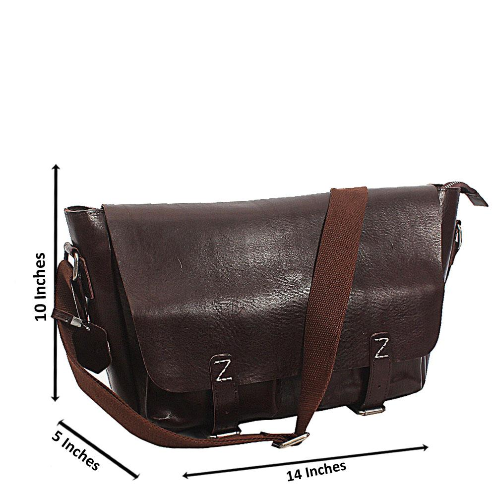 Coffee Bremen Classic Double Pocket Leather Messenger Bag