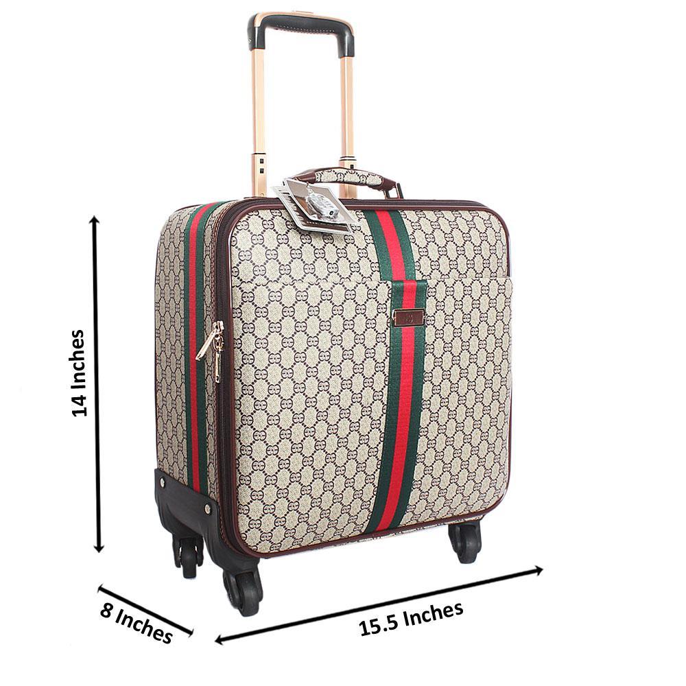 Cream Brown Classic Leather 14 Inch Pilot Suitcase Wt Padlock