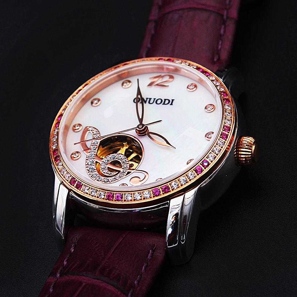 Diane Music Studded Purple Leather Automatic Ladies Watch