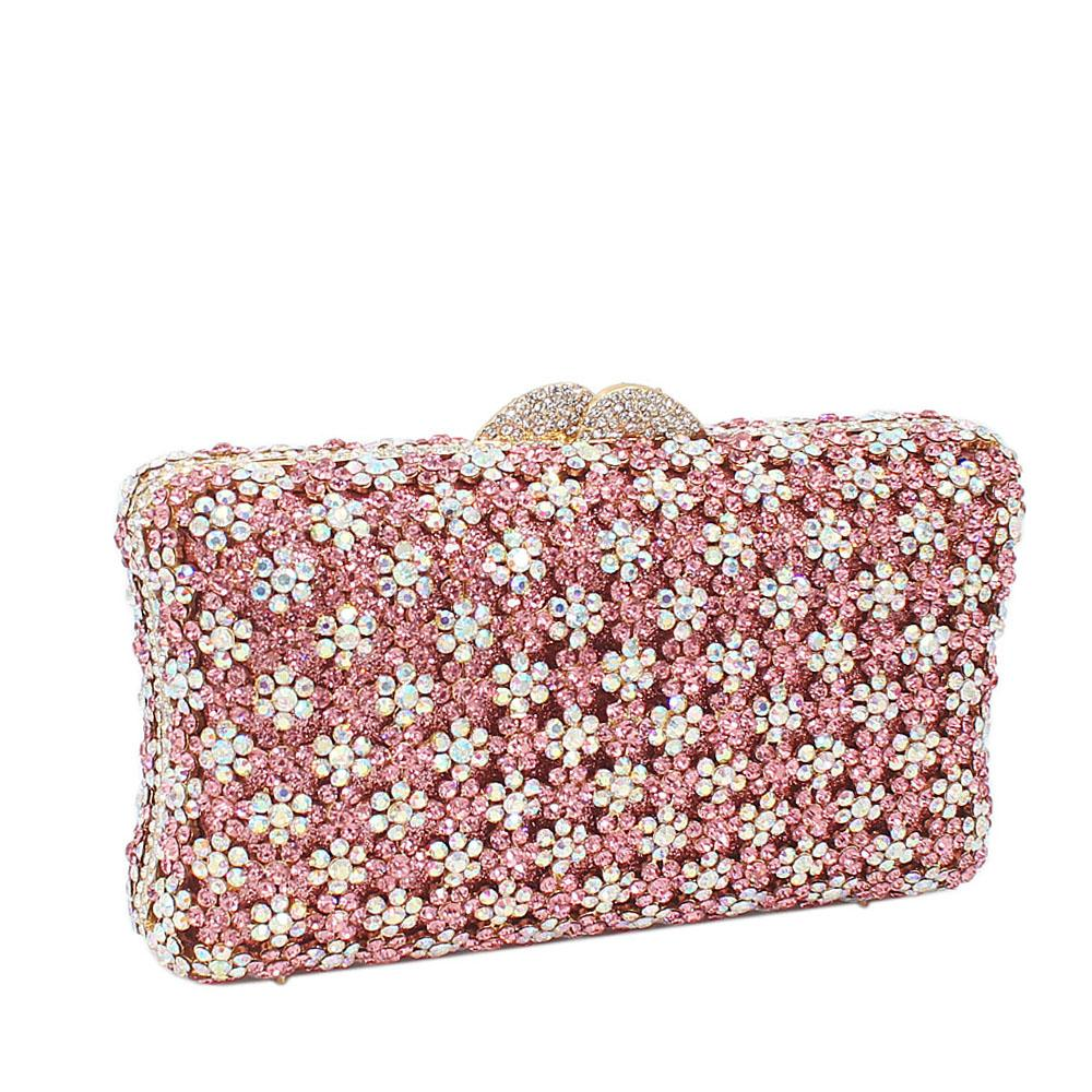 Pink Silver Shimmering Diamante Crystals Clutch Purse