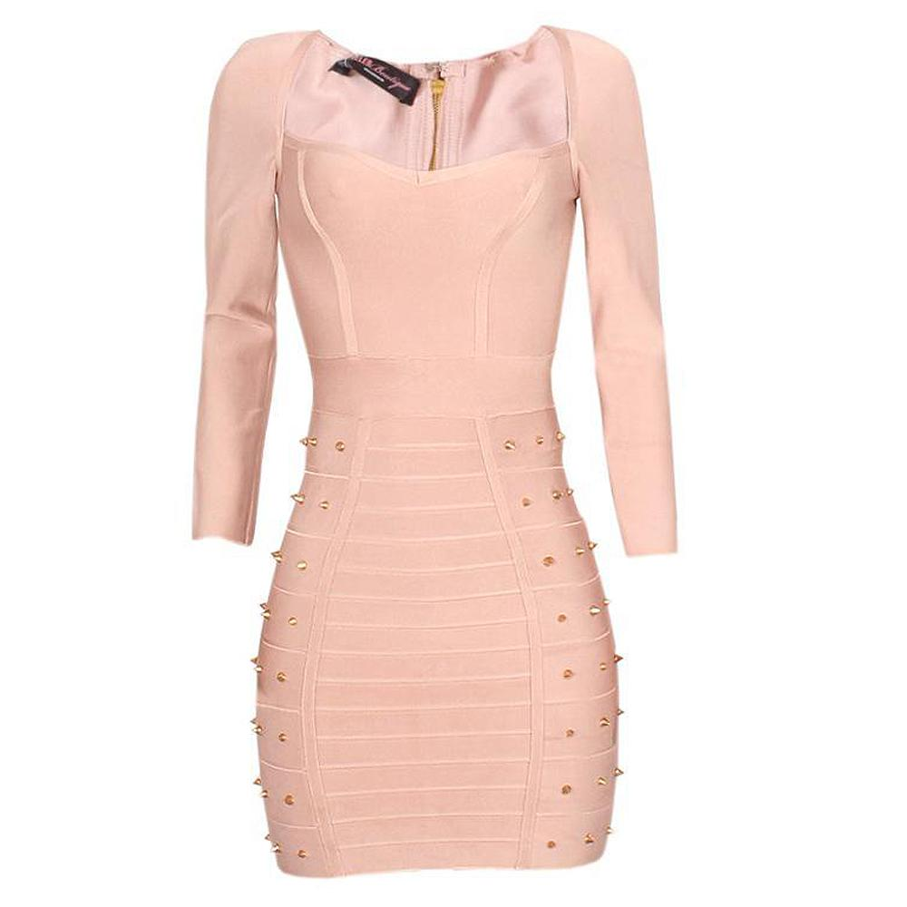Celeb Boutique Beige L/Sleeve Studded Ladies Stretch Bodycon Dress-S/M