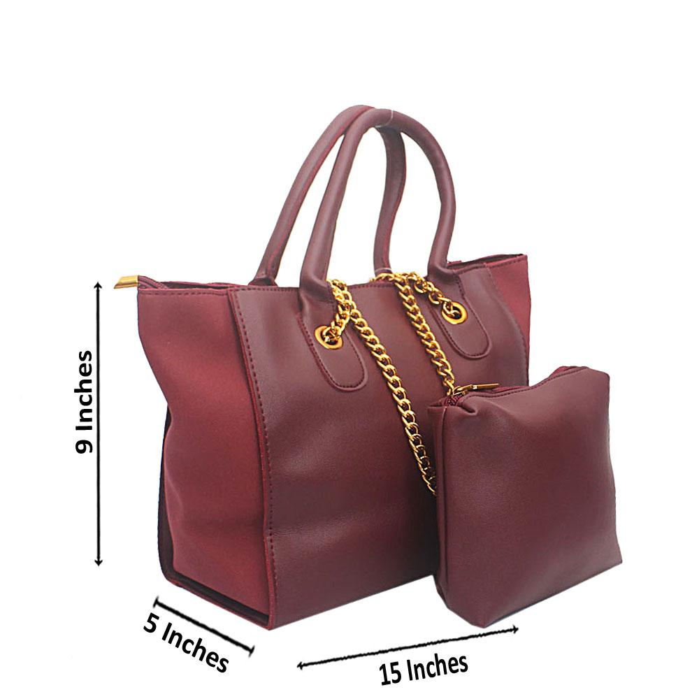 Wine Leather Hand Bag Wt Purse