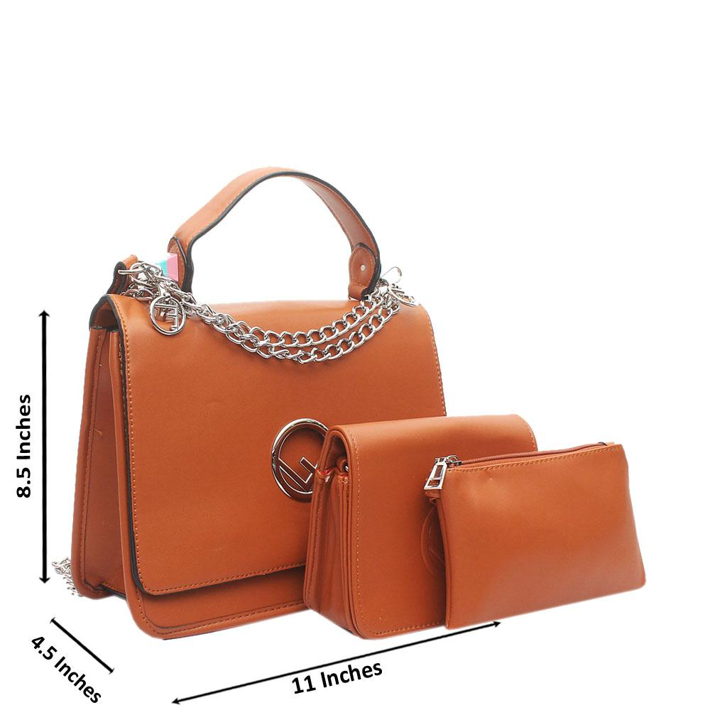 Brown Leather 3 in 1  Handle Bag