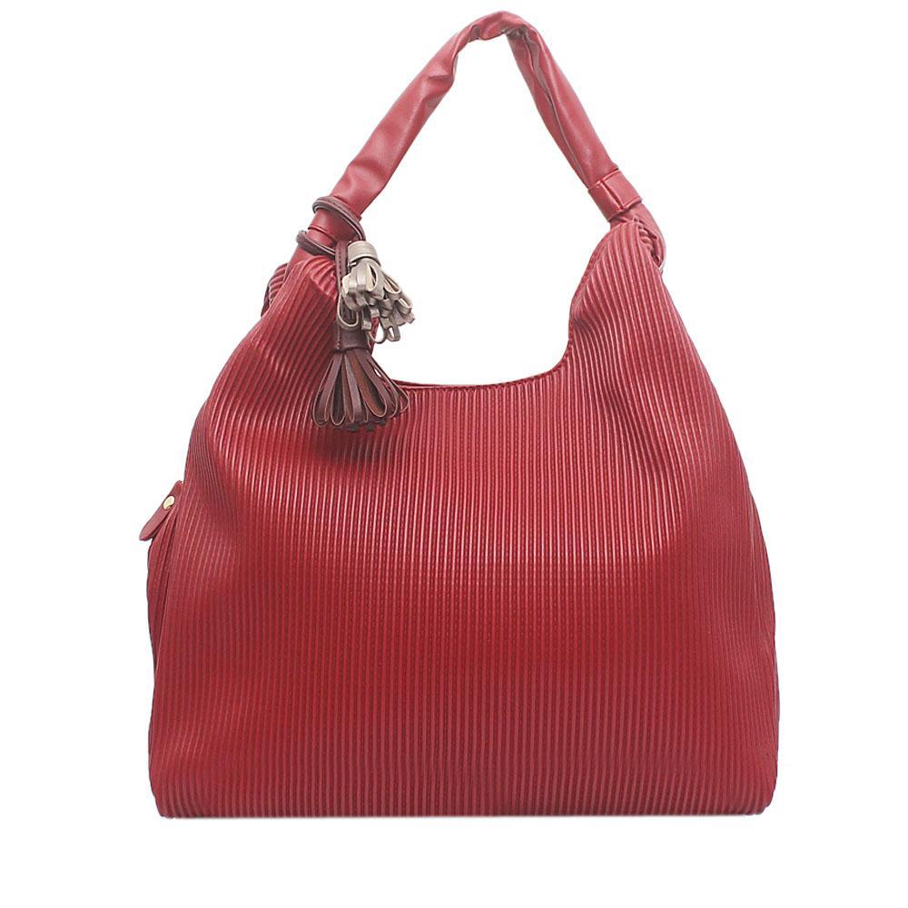 London  Style Wine Leather Shoulder Bag