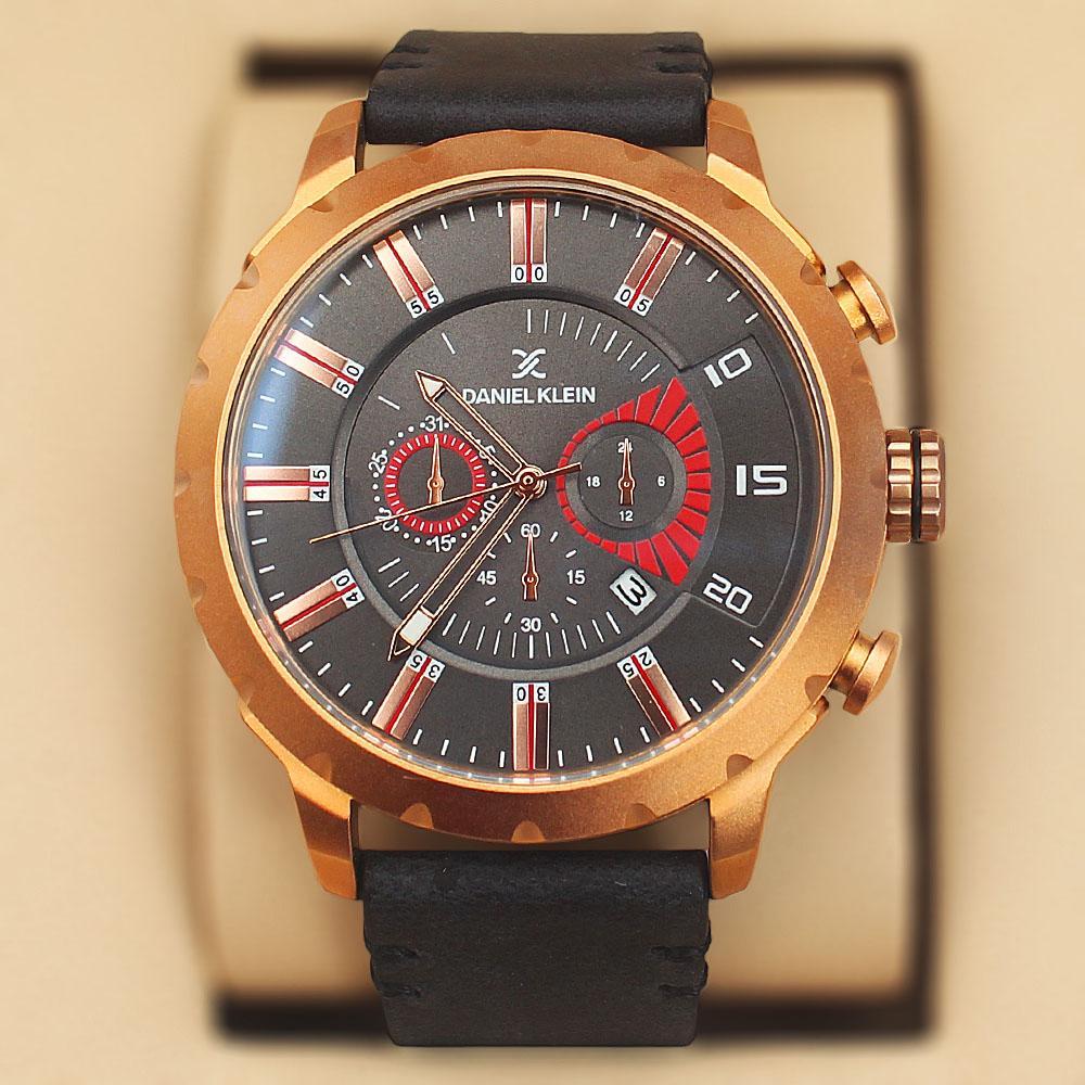 Daniel Klein Nubuck Black Gold Steel Leather Sport Series Watch