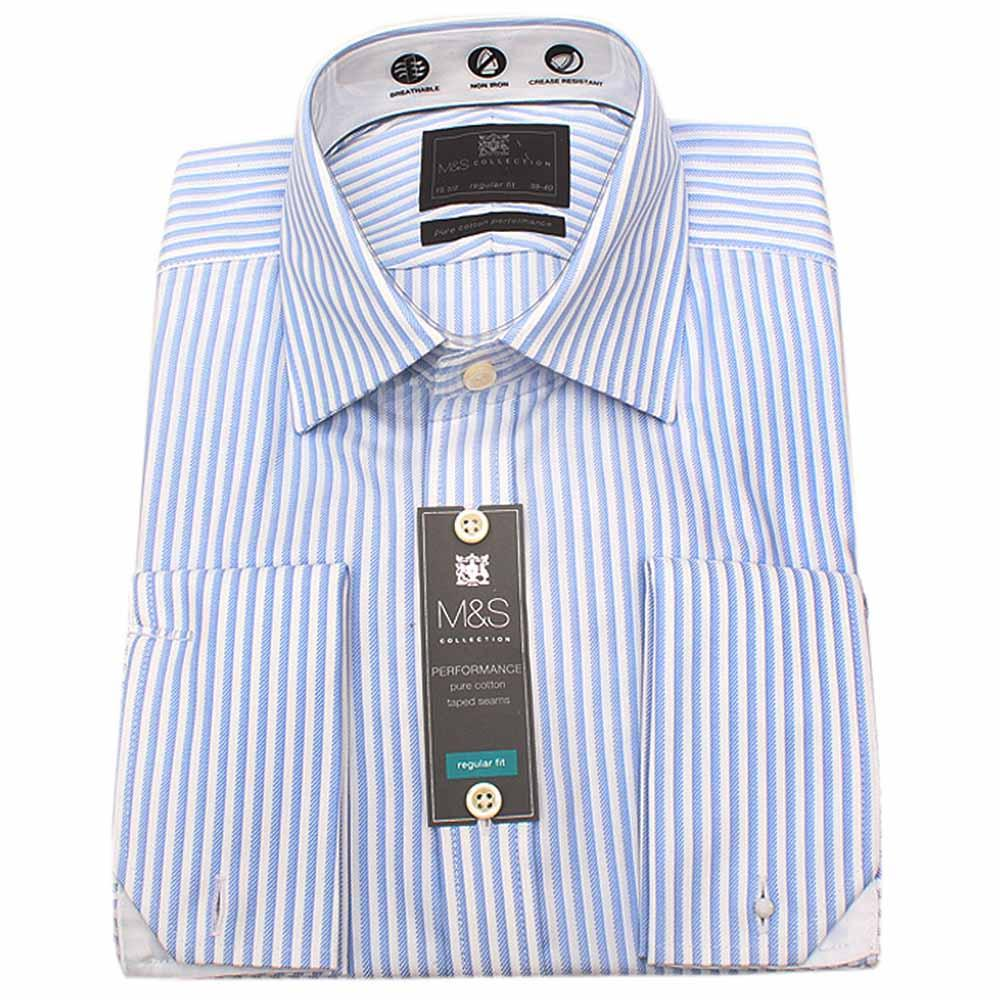 M&S Collection Blue White Striped Fit L/Sleeve Shirt Wt Cuff
