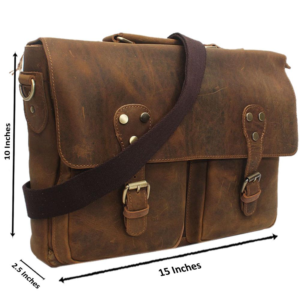 Dark Brown Clip Leather Messenger Bag