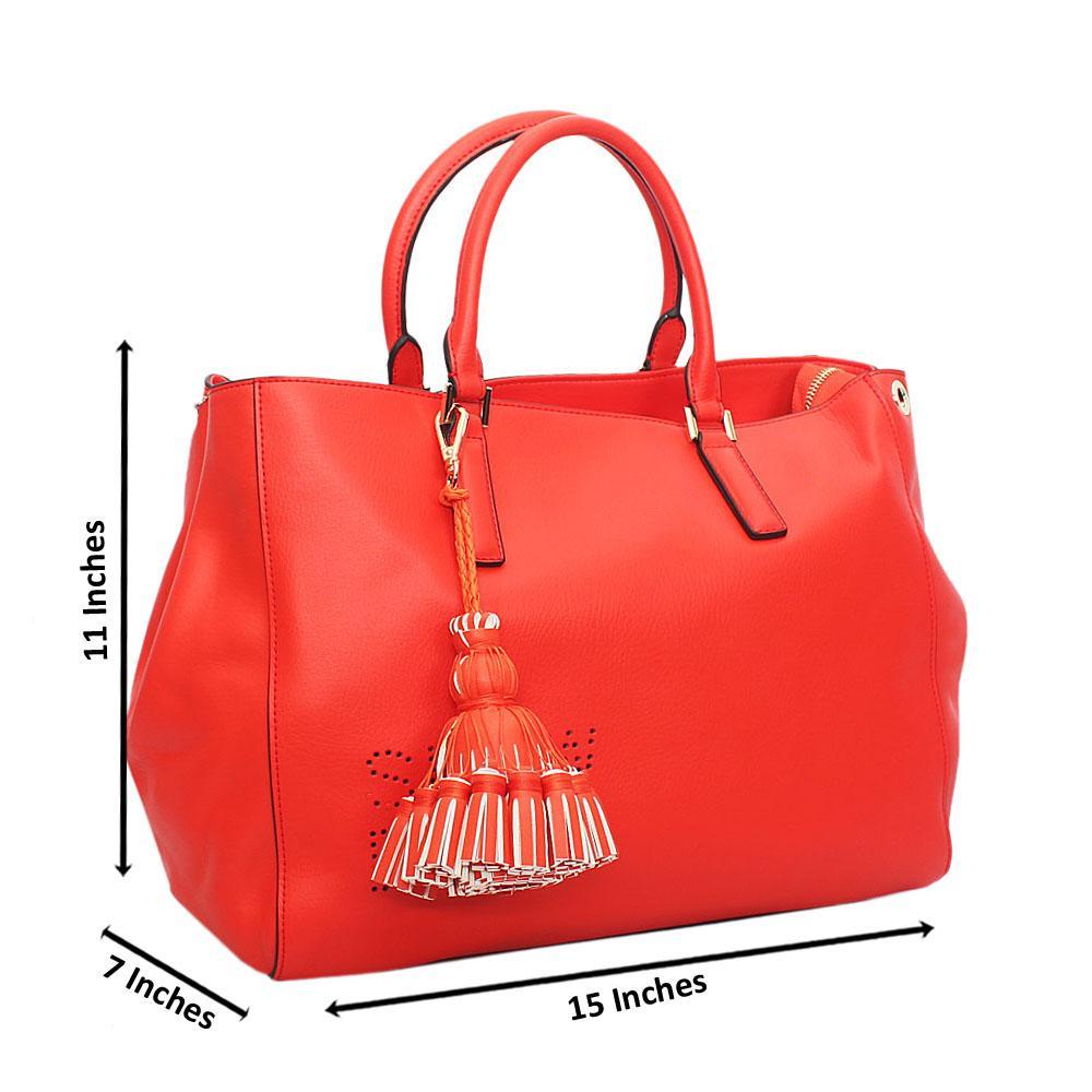 Classy Orange Slowdown Cow Leather Tote Handbag