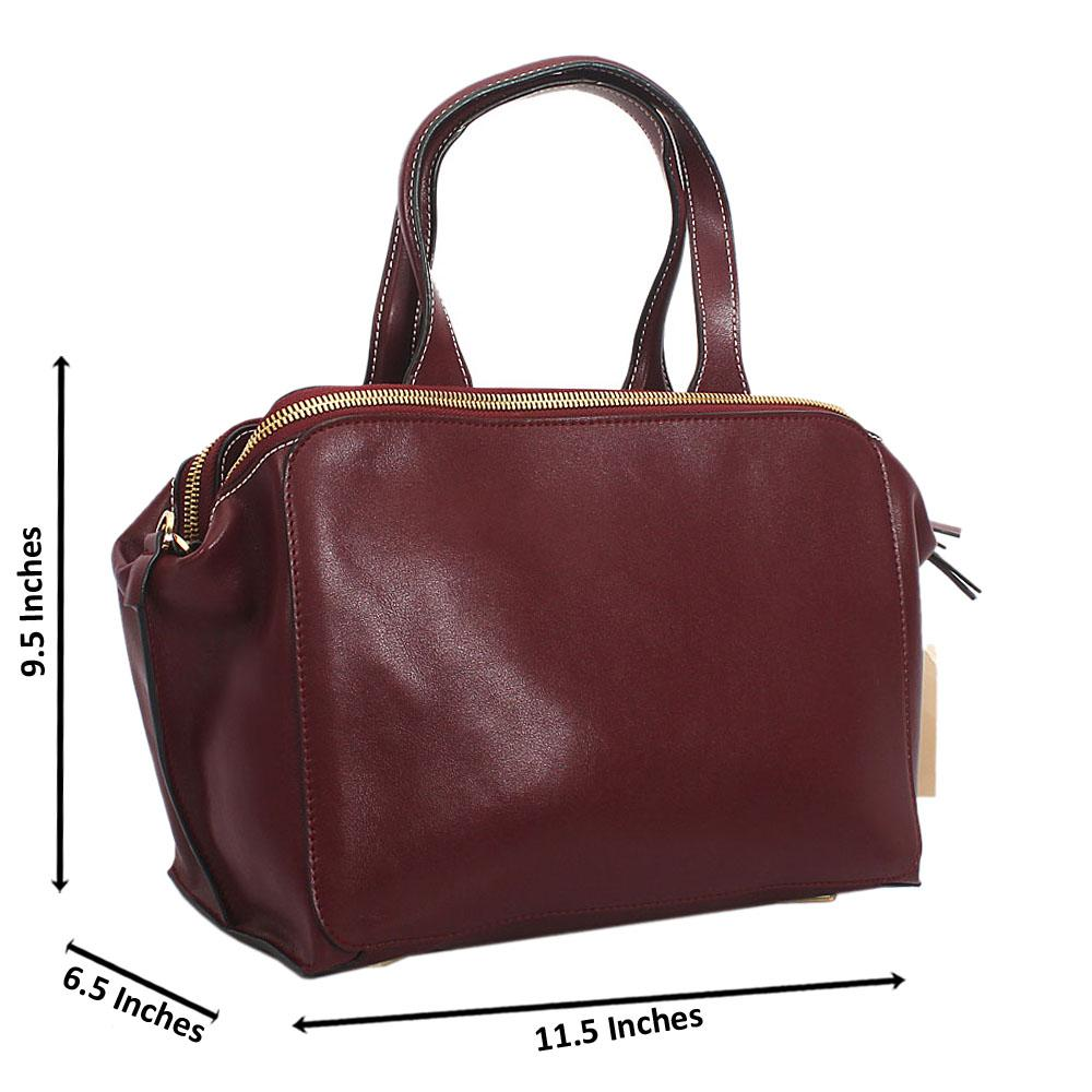 Wine Saffiano Leather Tote Handbag