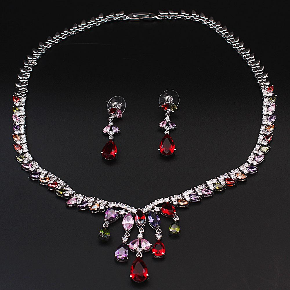 Natalia Sterling Silver Ice Necklace and Earrings Set With Drop Stones