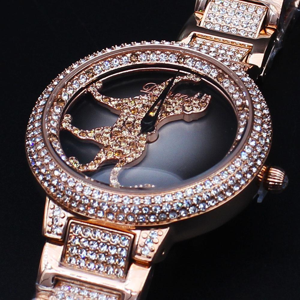 Davena Cheetah wt Austria Crystals Gold Steel Spinner Watch