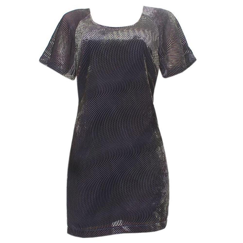 M & S Black Mix S/Sleeve Corduroy Dress