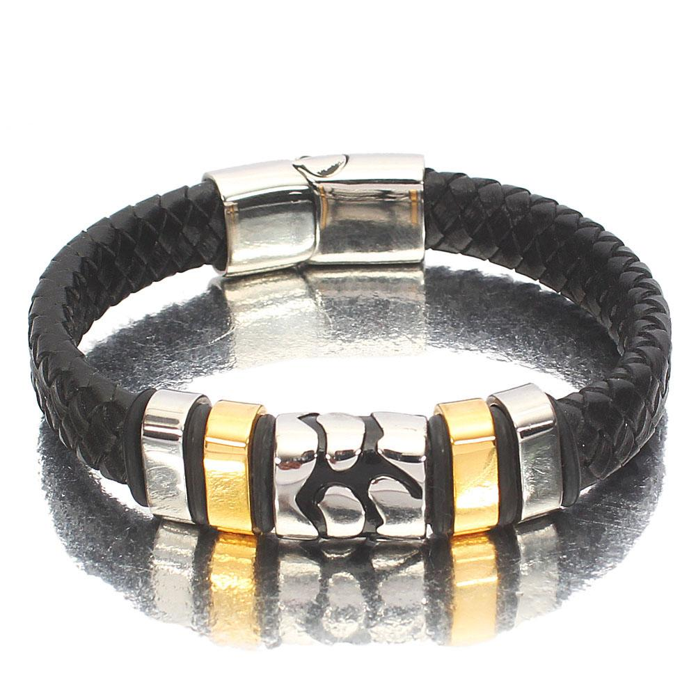 Silver Gold  Black Woven Leather Bracelet