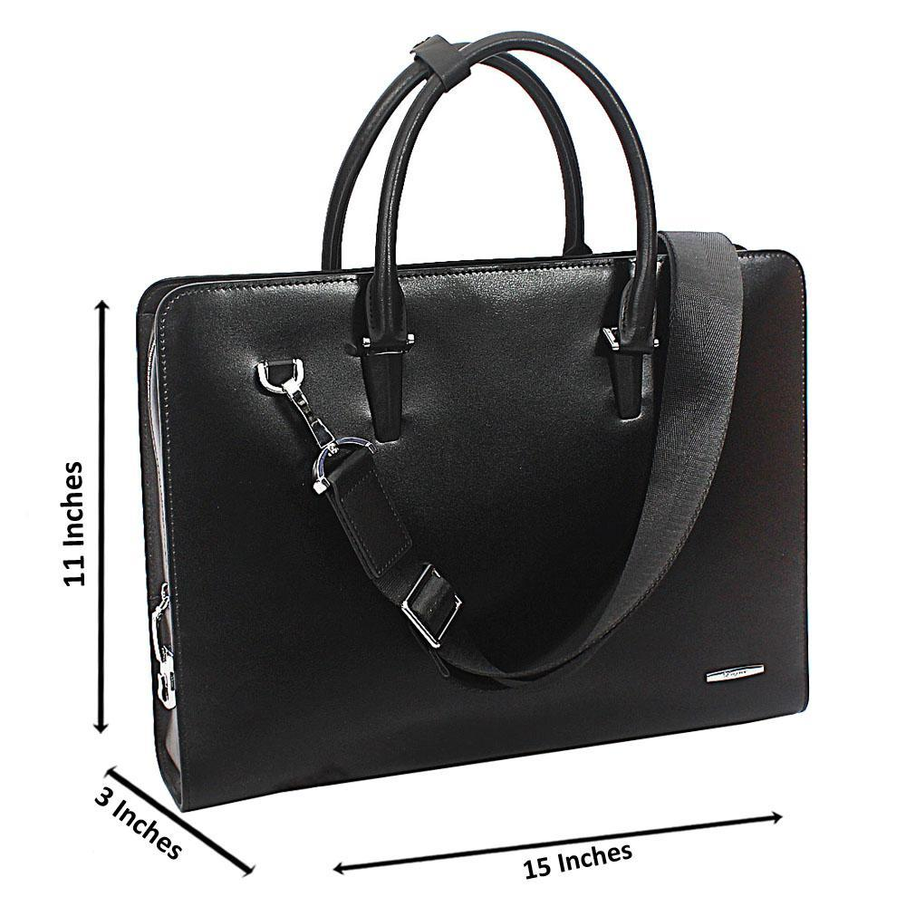 Black Smooth Cowhide Leather Briefcase wt Side Lock