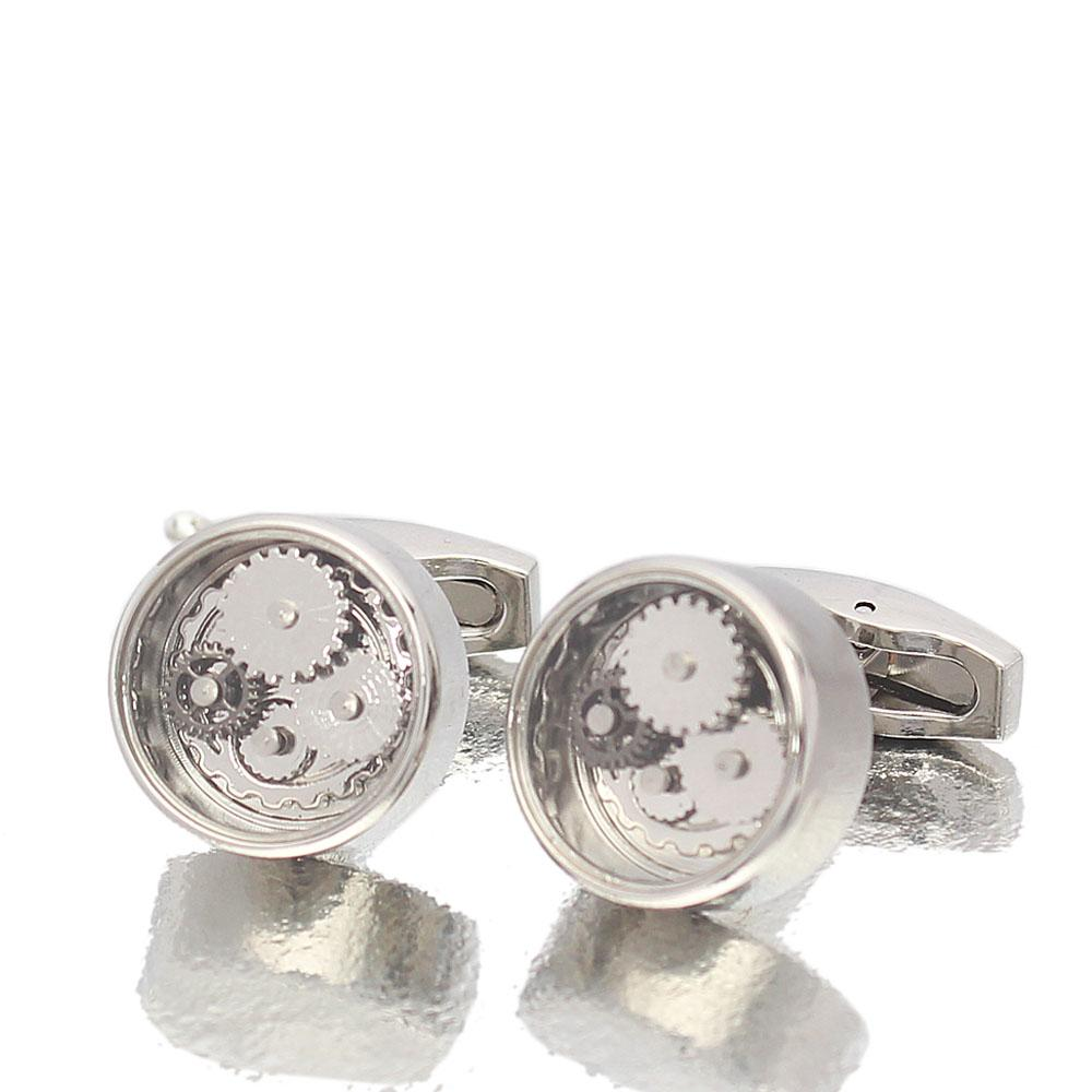 Platinum Silver Kinetic Styled Stainless Steel Cufflinks