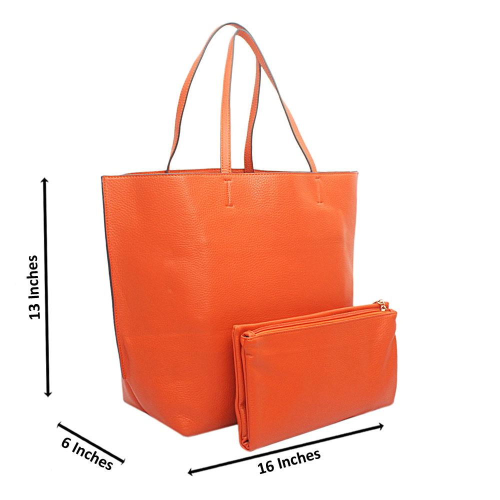 Orange Leather Shoulder Bag Wt Purse