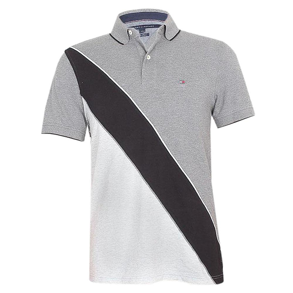 Tommy Hilfiger Gray Black S/Sleeve Custom Fit Polo
