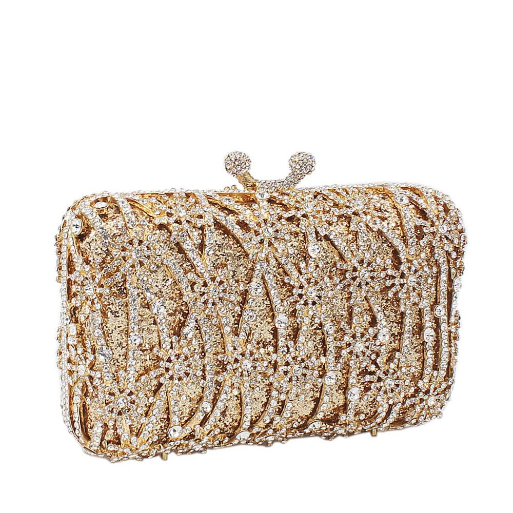 Gold Medal Drapes Diamante Crystals Clutch Purse