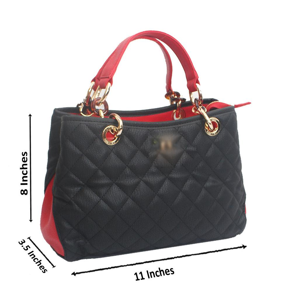 Black Red Calfskin Classic leather Bag