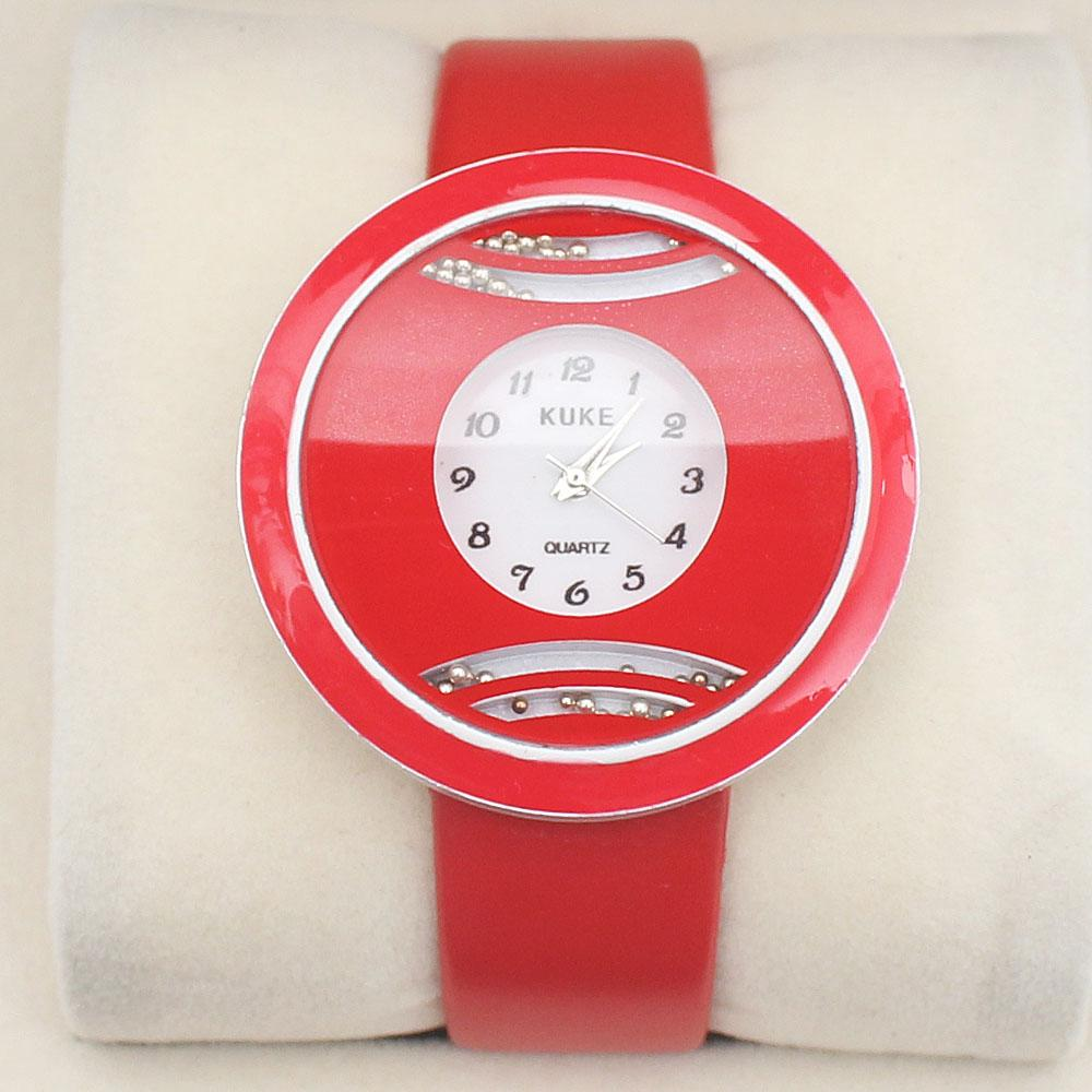 Kuke Red Leather Ladies Watch