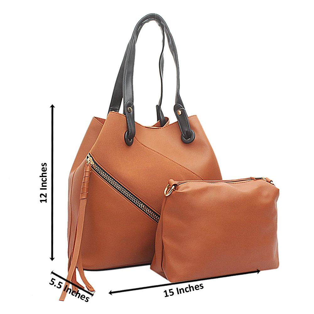 Brown Leather Zip Styled Handbag With Purse