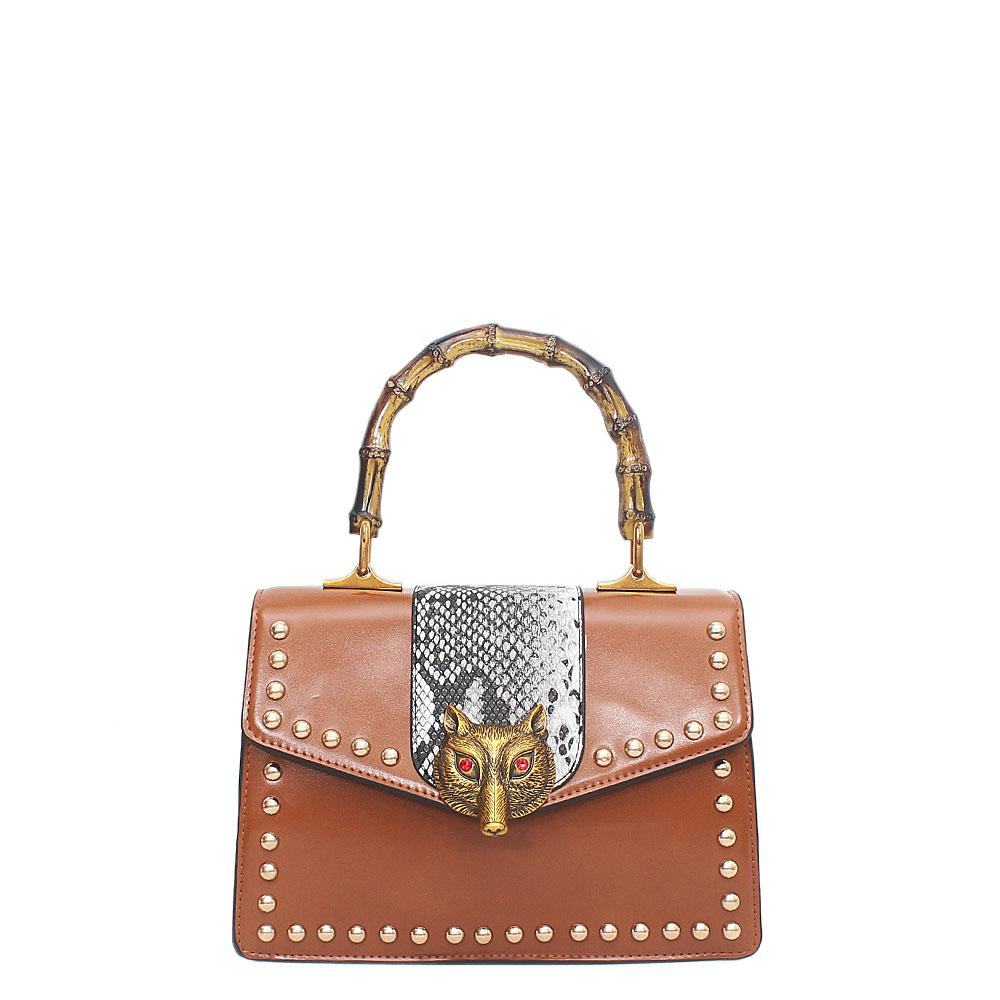Brown Leather Broche Bag